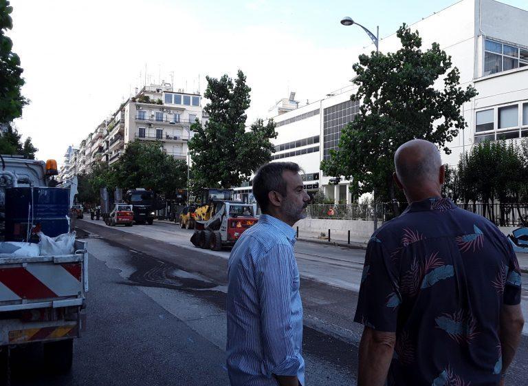 Αυτοψία Ζέρβα στα έργα ασφαλτόστρωσης στη Θεσσαλονίκη