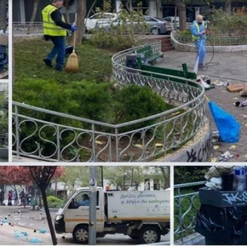 Ντροπιαστικές εικόνες στην Κυψέλη: Βουνό τα σκουπίδια από το κορονοπάρτι – Από τα ξημερώματα καθαρίζουν τα συνεργεία
