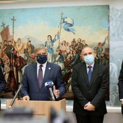 Πατούλης με Βλάση και Πάιατ στο Μουσείο Φιλελληνισμού για τα εγκαίνια έκθεσης για τους Αμερικανούς Φιλέλληνες